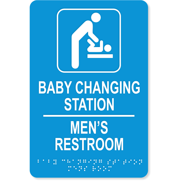 "Baby Changing Station Men's Room Sign with Braille | 9"" x 6"""
