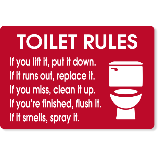 """Toilet Rules Engraved Plastic Sign 