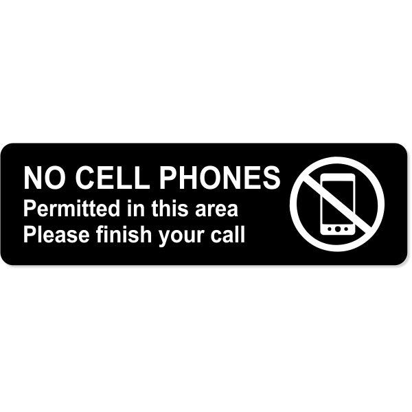No Cell Phones Permitted Engraved Sign | 3