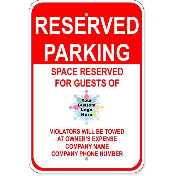 Reserved Parking Towed Sign