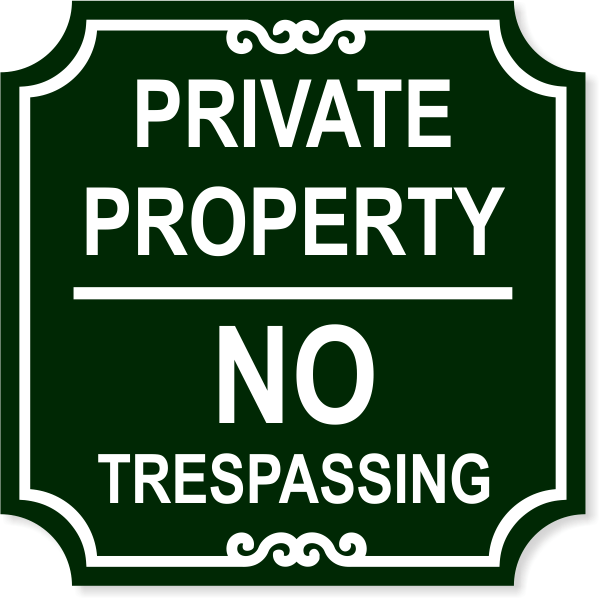 "Private Property No Trespassing Engraved Sign | 12"" x 12"""