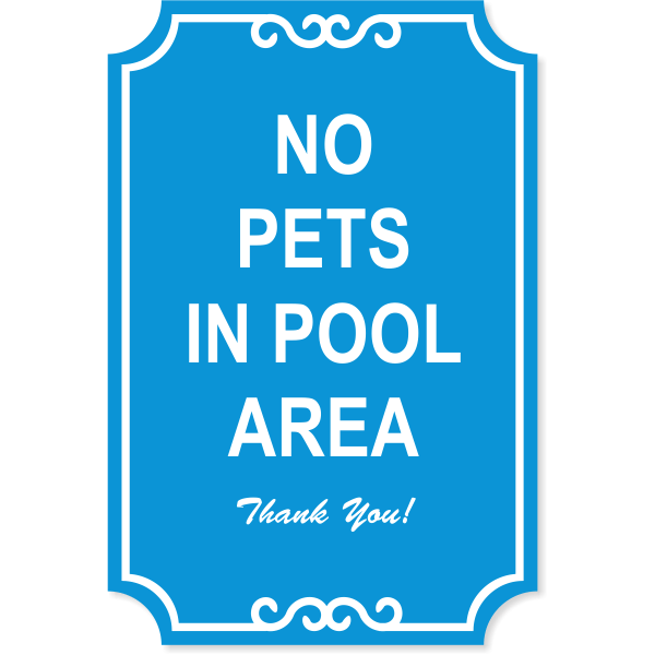 "Pets in Pool Engraved Sign | 18"" x 12"""