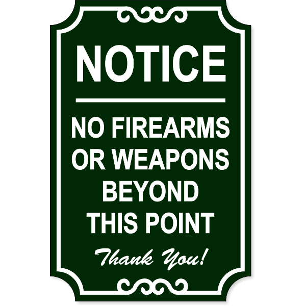 No Firearms Ornate Sign