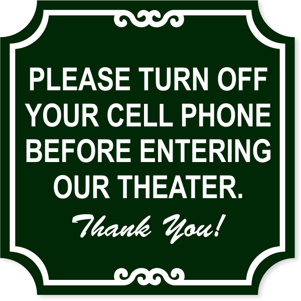 """Ornate Theater Phone Engraved Plastic Sign 
