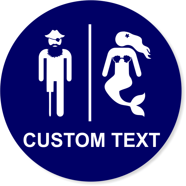 Engraved Unisex Restroom Sign with Funny Pirate and Mermaid