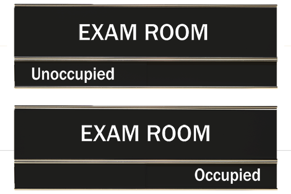 Black Exam Room Slider Sign