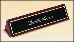 Rosewood Piano Finish Desk Name Plate 2 in x 10 in