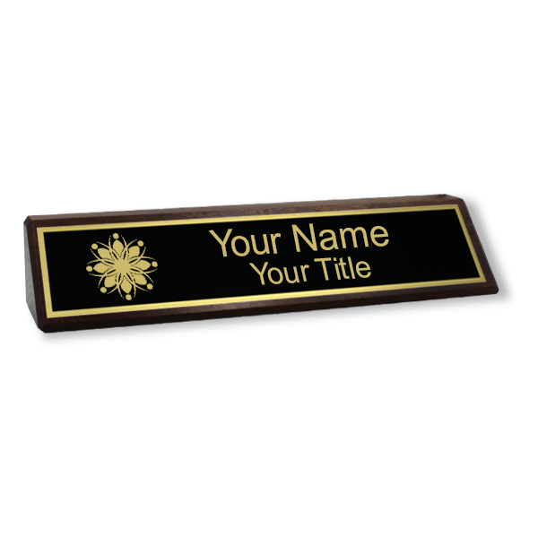 Walnut Desk Name Plate with Logo | 2
