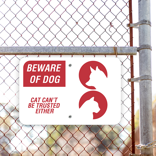 Beware of Dog and Cat Horizontal Sign Lifestyle Photo Outside