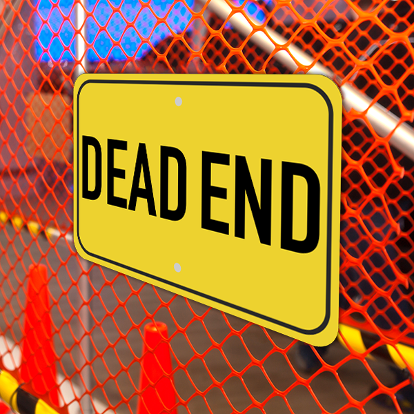 Mounted Horizontal Dead End Sign