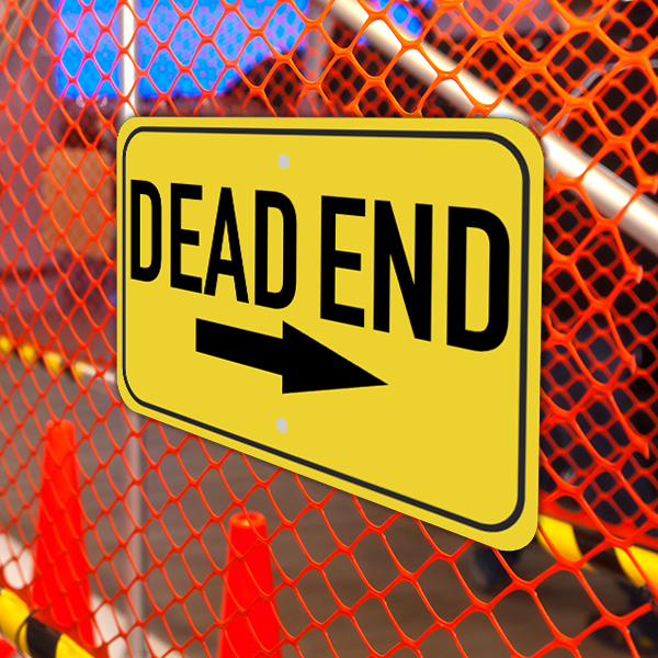 Mounted Horizontal Right Arrow Dead End Sign