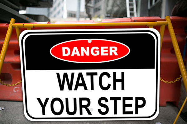 Mounted Danger Watch Your Step Sign