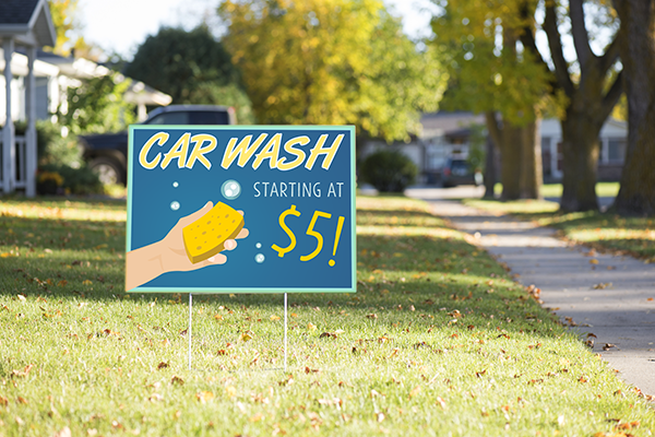 Mounted Hand Car Wash Sign