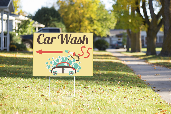 Mounted Car Wash Directional Sign