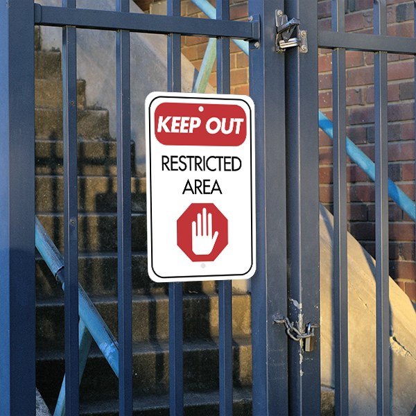 Mounted Vertical Keep Out Restricted Area Sign