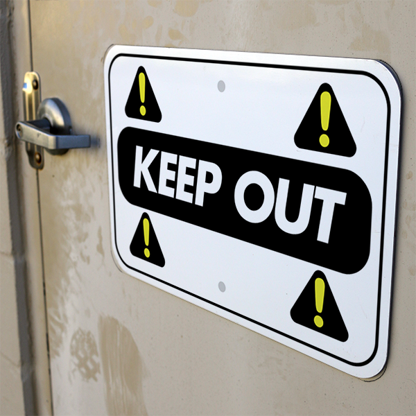 Mounted Horizontal Repeated Icon Keep Out Sign