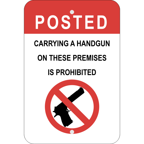 Vertical Posted Handgun Prohibited Sign