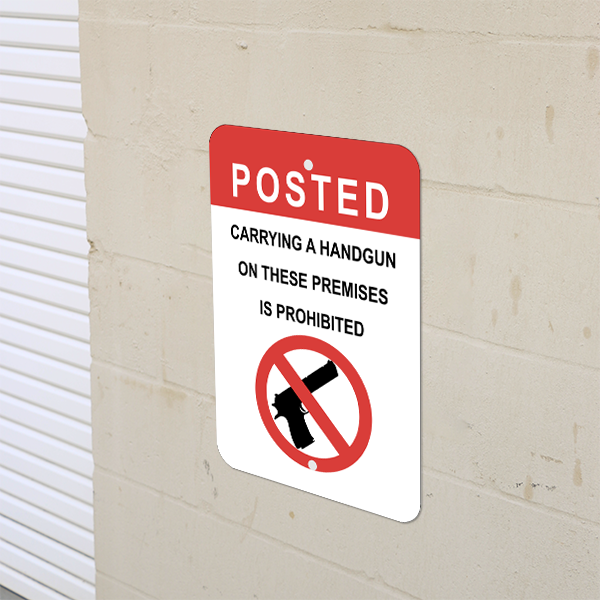 Mounted Vertical Posted Handgun Prohibited Sign