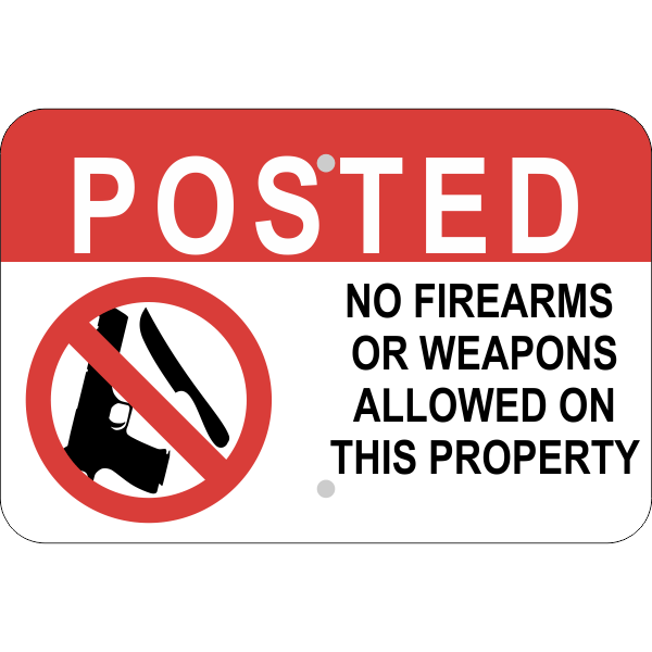 Horizontal No Weapons on Property Sign