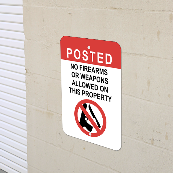 Mounted Vertical No Weapons on Property Sign
