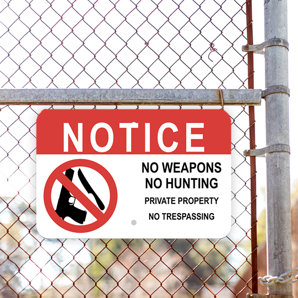 Mounted Horizontal No Weapons or Hunting Sign