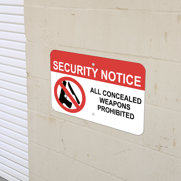 Mounted Horizontal No Concealed Weapon Security Sign