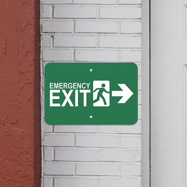 Mounted Horizontal Right Arrow Emergency Exit Sign