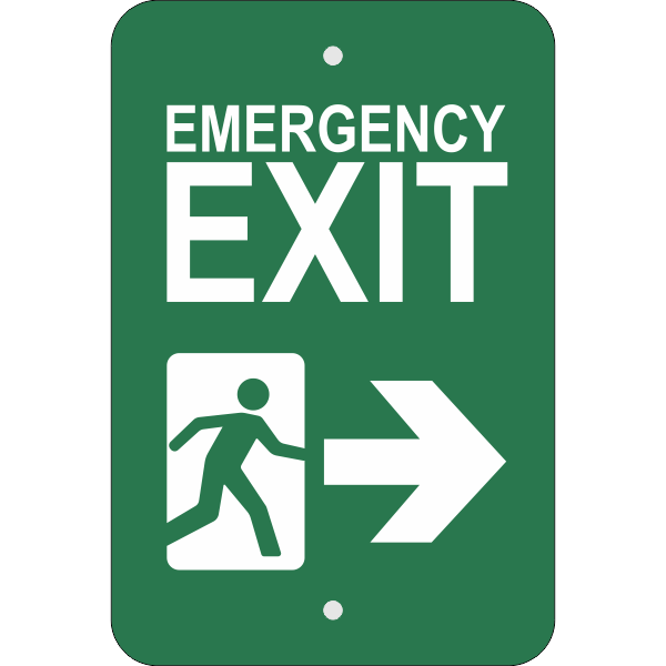 Vertical Right Arrow Emergency Exit Sign