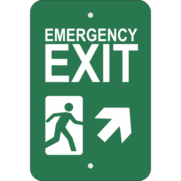 Vertical Forward Right Arrow Emergency Exit Sign