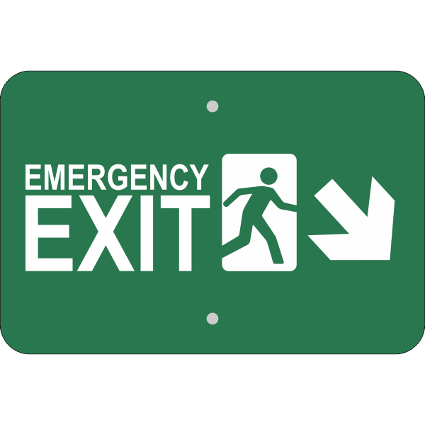 Horizontal Down Right Arrow Emergency Exit Sign