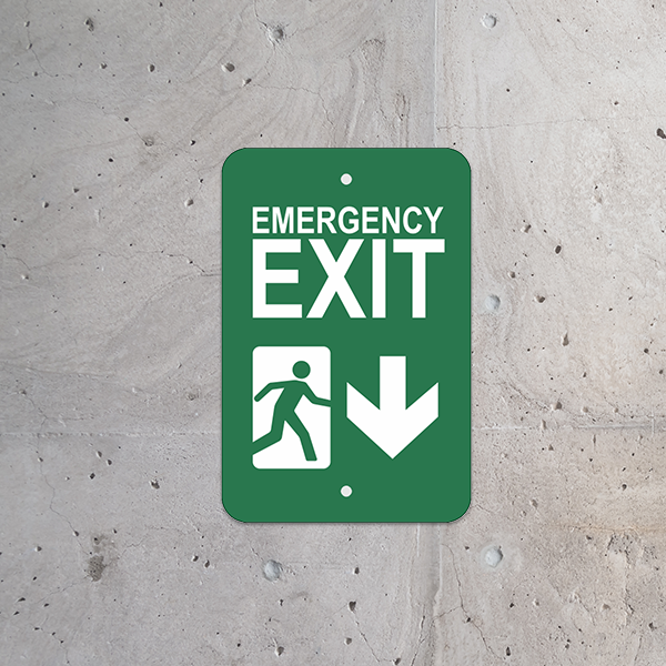 Mounted Vertical Down Arrow Emergency Exit Sign
