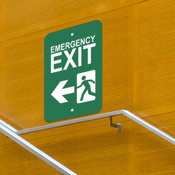 Mounted Vertical Left Arrow Emergency Exit Sign