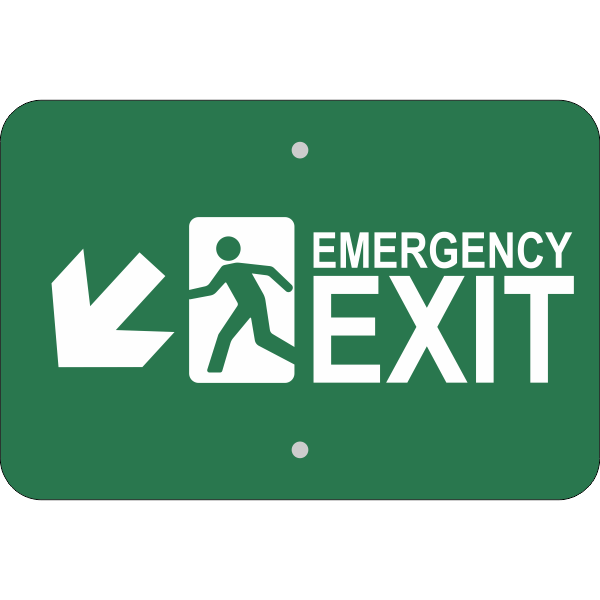Horizontal Down Left Arrow Emergency Exit Sign