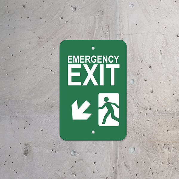 Mounted Vertical Down Left Arrow Emergency Exit Sign