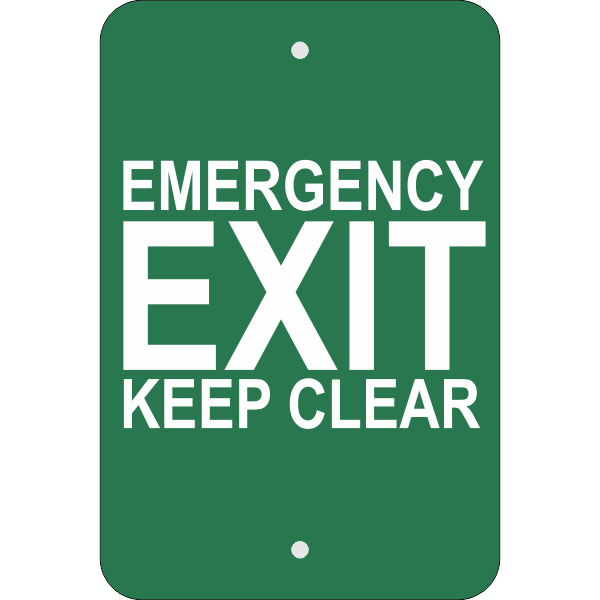Vertical Keep Clear Emergency Exit Sign