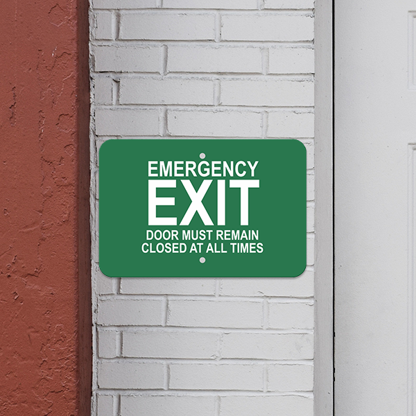Mounted Horizontal Keep Closed Emergency Exit Sign