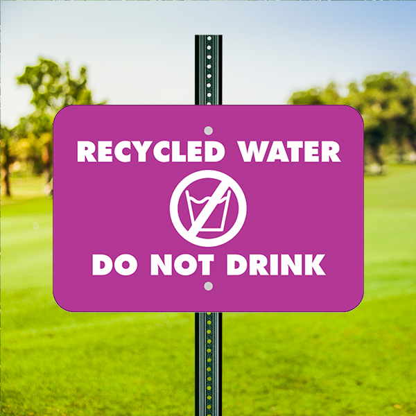 Mounted Horizontal Do Not Drink Recycled Water Sign