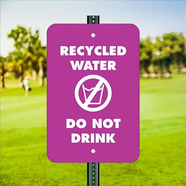 Mounted Vertical Do Not Drink Recycled Water Sign