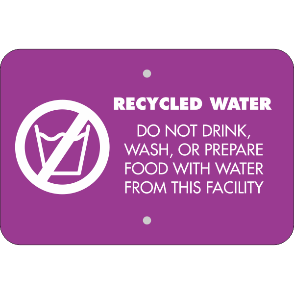Horizontal Recycled Water Notice Sign