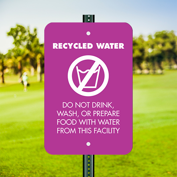 Mounted Vertical Recycled Water Notice Sign