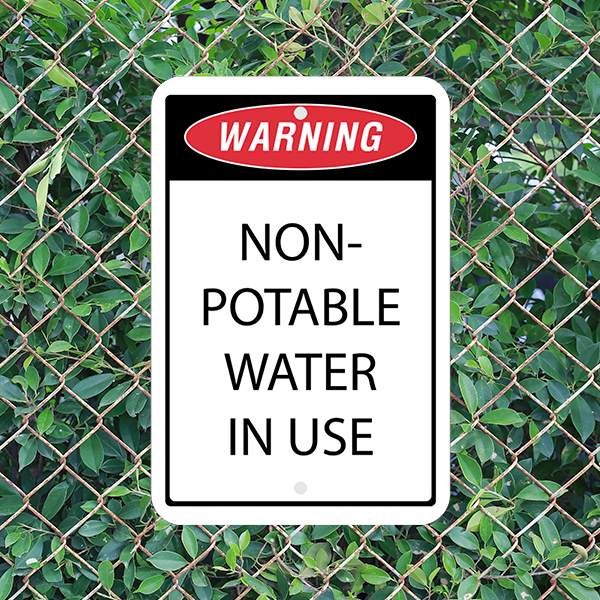 Mounted Vertical Non-Potable Water Warning Sign
