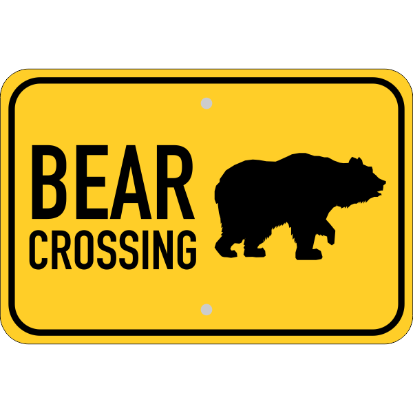 Horizontal Bear Crossing Sign