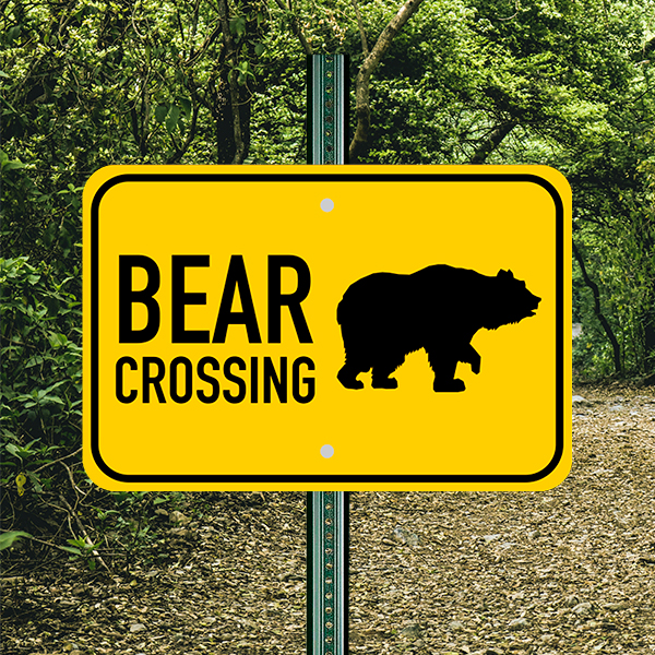 Mounted Horizontal Bear Crossing Sign