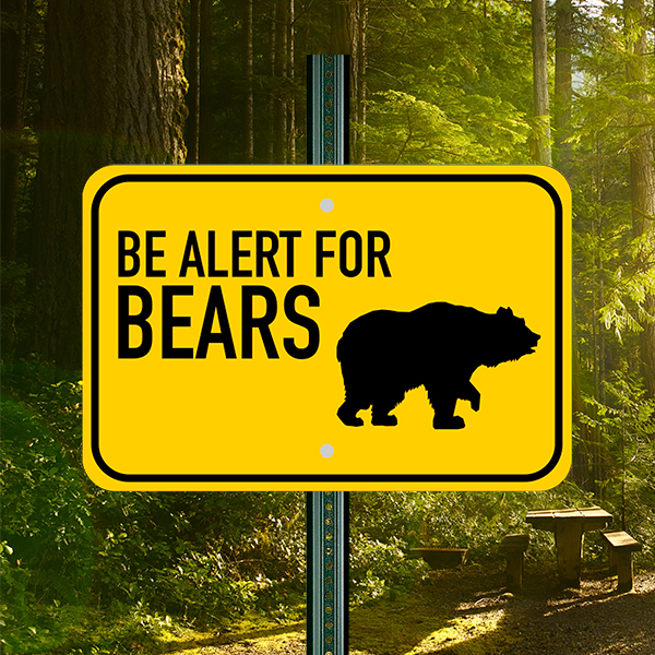 Mounted Horizontal Alert For Bears Sign