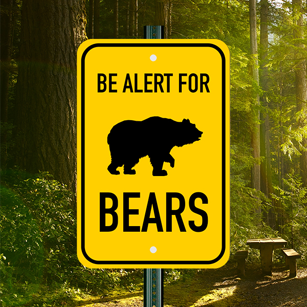 Mounted Vertical Alert For Bears Sign