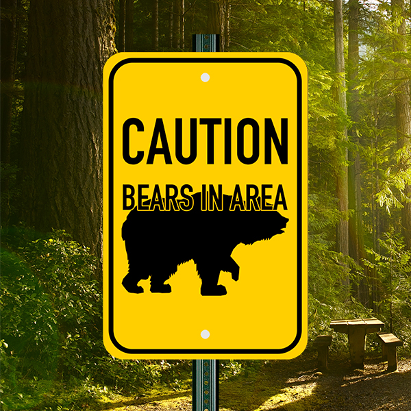 Mounted Vertical Bears In Area Sign