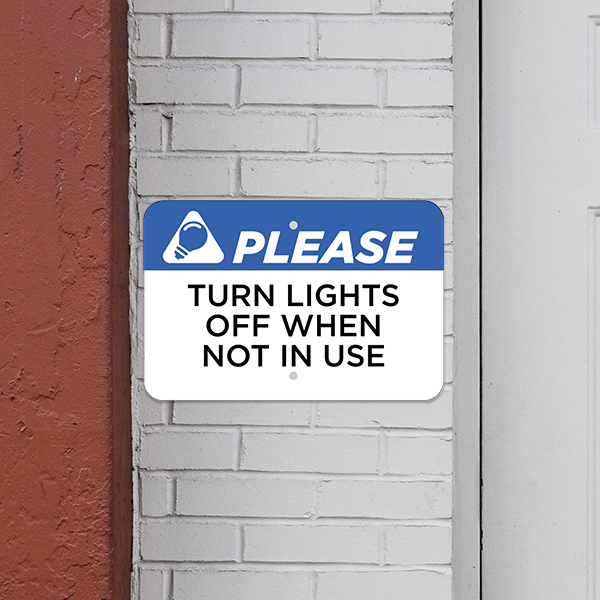 Mounted Horizontal Lights Off Conserve Energy Sign