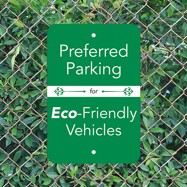 Vertical Eco Parking Conserve Sign Custom Signs