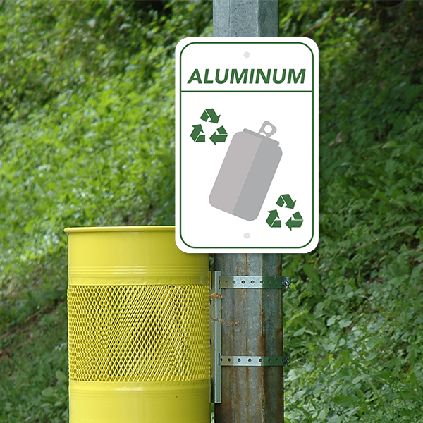 Mounted Vertical Aluminum Recycling Sign