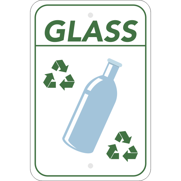 Vertical Glass Recycling Sign